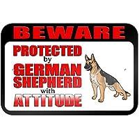 Beware protegido por pastor alemán con actitud 9x 6aluminio señal de Metal Signs Vintage señales de tráfico placas de lata Signs placa decorativa