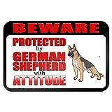 Vorsicht vor geschützt von deutschen Schäferhund mit Attitude 9x 6Aluminium Schild Blechschilder Vintage Road Schilder Dose Teller Schilder dekorativer