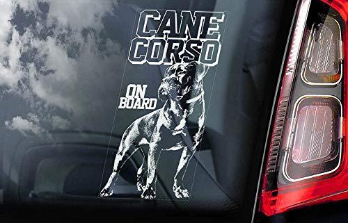 V02 Aufkleber für Autofenster, Motiv: Cane Corso on Board