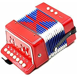 Andoer® Kids Children 7-Key 2 Bass Mini Small Accordion Educational Musical Instrument Rhythm Band Toy, Rosso