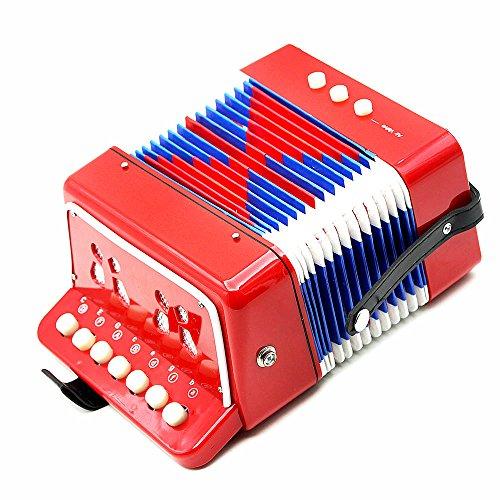 Andoer® Kinder-Akkordeon mit 7 Tasten, 2 Bass-Knöpfen und 1 Blasebalg, Mini-Akkordeon, lehrreiches Musikinstrument / Spielzeug rot