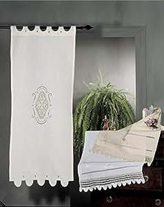 Coppia di Tende Ricamate a mano Alisea Made in Italy Misto Lino Varie Dimensioni (58x130)
