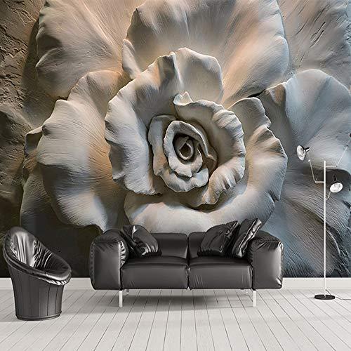 Cucsaistat Wandbild Tapete 3D Geprägte Rose Blumen Abstrakte Kunst Wand Dekoration Café Restaurant Wohnzimmer Schlafzimmer Tapete