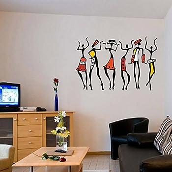 Decals Design 'African Dancing Women' Wall Sticker (PVC Vinyl, 50 cm x 70 cm)