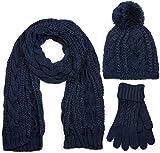 styleBREAKER set coordinato di sciarpa, cuffia e guanti, sciarpa in maglia con motivo intrecciato con cuffia a pon pon e guanti, donna 01018208, colore:Blu scuro/Stanio