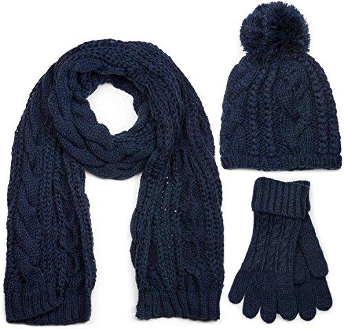 styleBREAKER Schal, Mütze und Handschuh Set, Zopfmuster Strickschal mit Bommelmütze und Handschuhe, Damen 01018208, Farbe::Dunkelblau / Schal (One Size)
