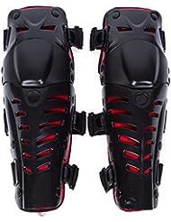 Genouillère Moto Cross Protection Genoux Tibia Équipement Professionnel Adulte Homme ou Femme 1 Paire Noir/Rouge