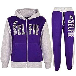 A2Z 4 Kids Kids Girls Tracksuit Hooded Top & Bottom - T.S #SELFIE Purple & Grey 13