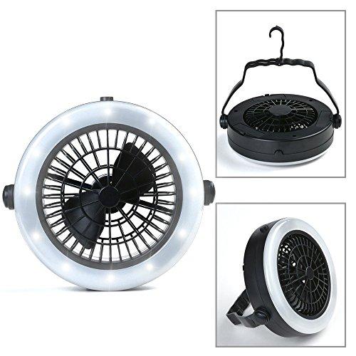 ODOLAND Ventilator LED Laterne, 2-in-1 Fan Camping Lampe tragbare Ventilator Camping Laterne Zeltlampe Campinglampe mit 12 LED für Outdoor Wandern Camping Garten