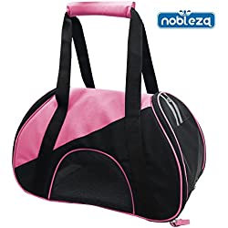 Nobleza 030217 - Bolso transportín de tela oxford para perros, gatos o animales pequeños. Color Rosa Largo 47 cm