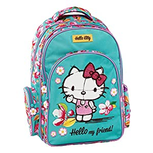 51wfEB01DxL. SS300  - Graffiti Hello Kitty Mochila Escolar, 44 cm, Verde (Mint)