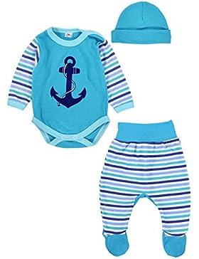 TupTam Baby Jungen Bekleidungsset mit Anker Aufdruck 3er Set