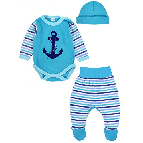TupTam Baby Jungen Bekleidungsset mit Aufdruck 3er Set Anker, Farbe: Türkis, Größe: 62