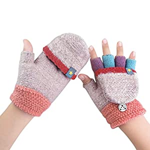 Kinder Halbfinger Handschuhe Fingerlose Fäustlinge Warm Mehrfarbige Strickhandschuhe Fingerhandschuhe mit Flip Top Mädchen Jungen Herbst Winter Bedarf