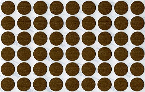 KwikCaps® PVC Ontario Nussbaum Graubraun Selbstklebende Schrauben-Abdeckungen Abdeckkappen Nägel Cam flach [54 Stk. x 20 mm Durchmesser] -