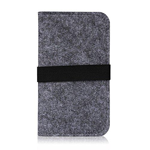 Filz Hülle Smartphone Tasche Cover Case Handy Flip Filztasche Kartenfach Etui, Farbe:Hell Grau;Für Handy Modell:Apple iPhone 6 Plus - 6s Plus Dunkel Grau