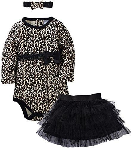 ZOEREA 3 PCS Neugeborenes Baby Hat + Rock + Spielanzug-Outfit Kleidung-Ballettröckchen-Kleid-Sommer-Set Leopard Bowknot Bänder (And Kostüme Baby Rock Roll)