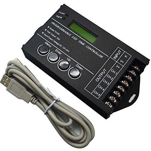 Programmierbarer LED-Zeit-Dimmer-Controller DC12V / 24V 5Channel Gesamtausgang 20A Gemeinsame Anode für RGBW RGB Dual Color oder Single Color LED-Streifenbeleuchtung (Timer Dimmer)