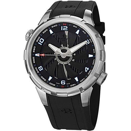 Perrelet Men's 47mm Black Rubber Band Steel Case Automatic Watch A1066-4