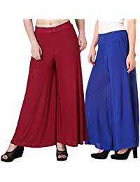 Mango People Products Indian Ethnic Rayon Designer Plain Casual Wear Palazzo Pant For Women's ( Maroon And Royal...