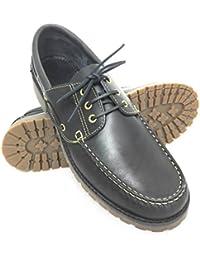 Zapato para caballeros náutico de piel con suela de goma flexible100% Piel de primera calidad Tallas grandes XXL de la 46 a 50 Color azul marino