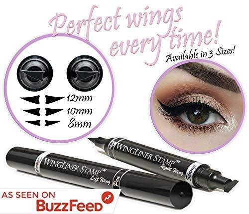 Eyeliner-Stift mit Stempel - WingLiner von Vogue Effects, schwarzer, wasserfester, wischfester, langanhaltender, flüssiger, veganer Eye liner. 2 in 1 Eyeliner-Hilfe (8mm Petite) ...