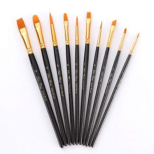 Künstlerpinsel,10er Pack Fein Pinsel Art Painting Set für Aquarell Acryl Ölgemälde DIY Zeichnung Erwachsene Jugendliche Anfänger Kinder Künstler Nylon Schwarz