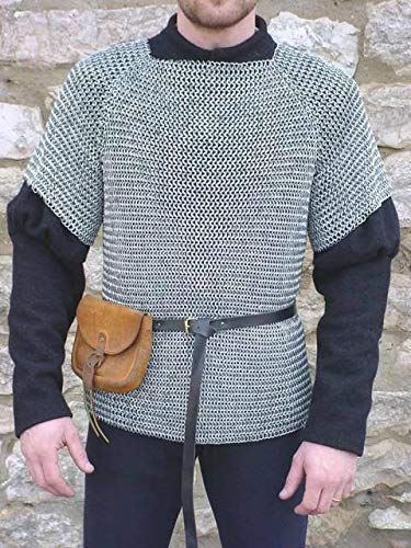 NASIR ALI Medieval Chainmail Shirt Medium Haubergeon Armor 9 MM Round Butted Aluminum