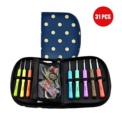 31 Stück Häkelnadel Set Ergonomische Bunten Stricknadeln Häkeln Hochwertiges Stricknadeln Zubehöre und Tragbaren Tasche (2-6mm)-Meowoo (31 pcs) (Zubehör Für 5 Taschen)