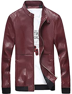 Zhhlaixing Moda Mens Long Sleeve Jackets Windbreaker PU Leather Outerwear