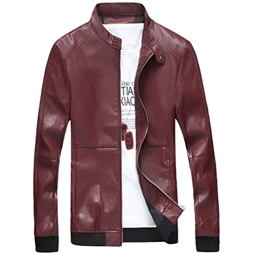 Zhhlinyuan haute qualité Men's Durable Long Sleeve PU Leather Jacket Windbreaker Outerwear Slim Fit red
