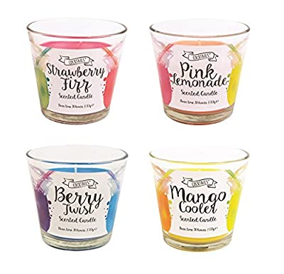 Invero® 4x Set of Vibrant Flavoured Cocktail Scented Wax Candles Includes Berry Burst, Pink Lemonade, Strawberry Fizz and Mango Cooler Scents – In Glass Pot, 30 Hours Burn Time Ideal for Home Kitchen Bars Work or Gift by Invero®