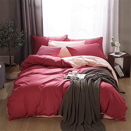 TAYIBO Bettgarnitur Bettbezug mit Muster,Vierteiliges Baumwollset, Bettwäsche, einfarbig geschliffen-D_200 * 230 + 245 * 250