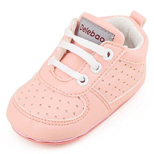 DELEBAO Babyschuhe Krabbelschuhe Turnschuhe Lauflernschuhe Weiche Sohle Baby Schuhe Lederschuhe Erste Kinderschuhe Kleinkind für Mädchen Jungen (Pink,12-18 Monate)