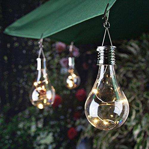 FeiliandaJJ 5LED Solar Glühbirne LED Licht Wasserdicht Drehbare Hängende LED Birne für Garten Camping Outdoor Hochzeit Party Halloween Xmas Innen/Außen Haus Deko (A) (Halloween Birne Keine)
