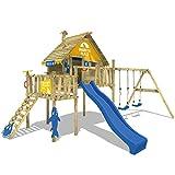 WICKEY Stelzenhaus Smart Resort Spielturm Kletterturm mit Schaukel Holzdach Kletterleiter