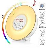 Wake-Up Light, Sveglia luce, Wuloo Bluetooth Sunrise Simulazione sveglia luce colorata alba sveglia, Lampada per il Risveglio, con altoparlante Bluetooth, la natura suoni radio FM, 7 colori / 10 luminosità, tocco controllo Tramonto Snooze