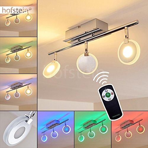 LED Deckenstrahler Plumas 3-flammig – Deckenspot mit Farbwechsler und Fernbedienung - RGB LED Zimmerlampe mit Lichteffekten für Wohnzimmer – 3000 Kelvin – 1080 Lumen – Spots dreh- und schwenkbar