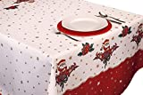 Tovaglia festiva, rossa, con stampa a fiori, antimacchia, per decorazione della casa, perfetta per Natale, Pasqua, feste, ecc 350 x 150 cm