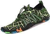 Zapatos de Agua para Buceo Snorkel Surf Piscina Playa Vela Mar Río Aqua Cycling Deportes Acuáticos Calzado de Natación Escarpines para Hombre Mujer,Verde 39