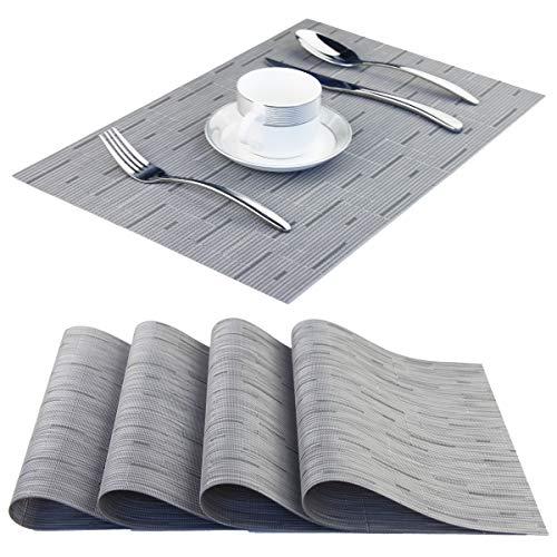 BeChen Tischsets, waschbar, leicht zu reinigen, gewebtes Vinyl, Tischsets für Esstisch, 4 Stück, Orange 4pcs A-Light Grey (Halloween Vinyl Tischsets)