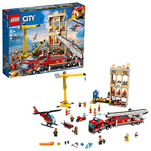 LEGO 60216 City Downtown Fire Brigade Building Set, Toy Helicopter and Fire Truck, Firefighter Toys for Kids Best Price and Cheapest
