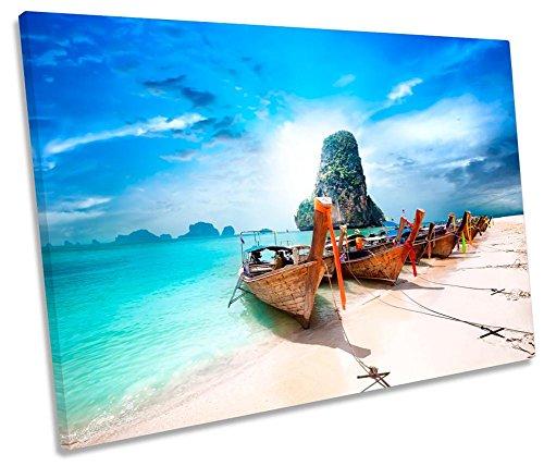 Canvas Geeks Leinwandbild, Motiv Strandboot Sonnenuntergang, 1 Stück, 45cm Wide x 30cm high