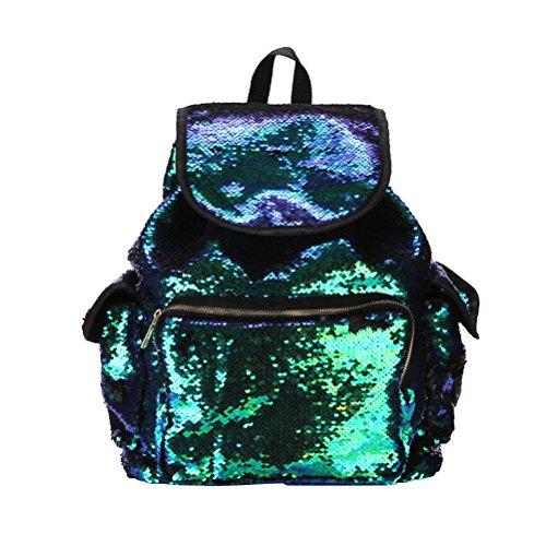 (LUOEM Glitter Pailletten Rucksäcke Daypack Schultern Tasche Rucksack für Frauen und Teen Mädchen Farbverlauf)