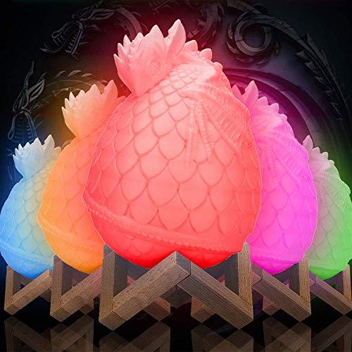JohnnyLuLu Dragon Egg Tischleuchten Dinosaurier 3D gedruckte LED Nachtlampen mit Fernbedienung & Touch Control 16 Farben, dekorative Lampe für Geschenke und Ornamente (Dragon Touch-lampe)