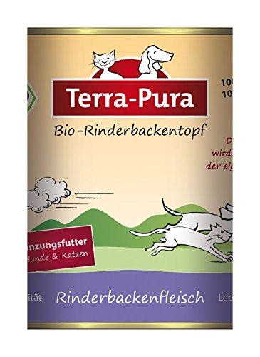 Terra Pura Bio Rinderbackenfleisch Ergänzungsfutter für Hunde und Katzen, 12er Pack (12 x 400 g)