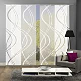 Home Fashion 94662 | 4er-Set Schiebegardinen TIBERIO | Scherli Blickdicht & transparent | wollweiß | je 245x60 cm