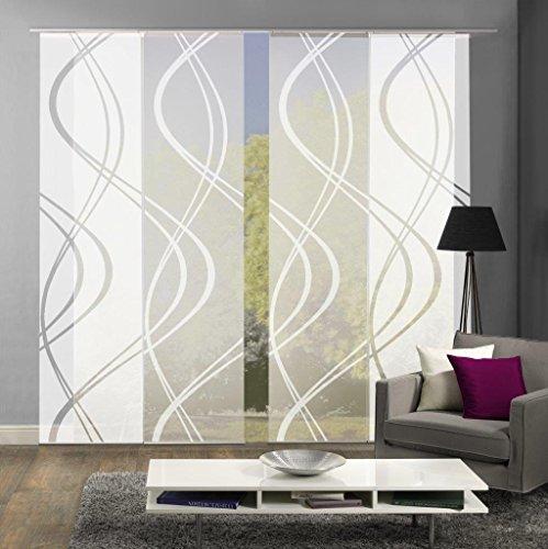 Home Fashion 94662 | 4er-Set Schiebegardinen TIBERIO | Scherli Blickdicht & transparent | wollweiß | je 245x60 cm