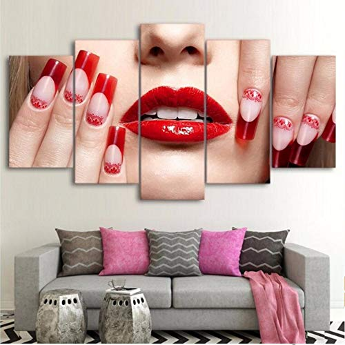 Xzfddn Modulare Bilder 5 Stücke Lip Home Decoration Leinwand Malerei Bestbewertet Charakter Wand Für Wohnzimmer Moderne E 40X60/80/100Cm,No Frame