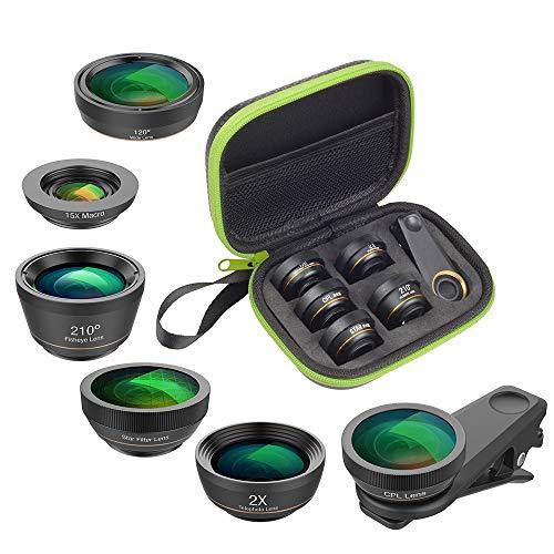 APEXEL 6 in 1 Handy-Objektiv-Kit, Super 210 ° Fischaugenobjektiv + 2x Teleobjektiv + 120 ° Weitwinkelobjektiv und 15x Makroobjektiv + Sternfilter + CPL für iPhone Samsung und die meisten Smartphones